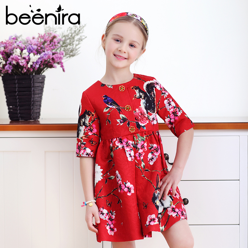 Beenira 2017 New Girls Dress Kids Clothes Knee Length Red Dress Children Floral Pattern Party Dress European and American Style 100% real photo brand kids red heart sleeve dress american and european style hollow girls clothes baby girl clothes