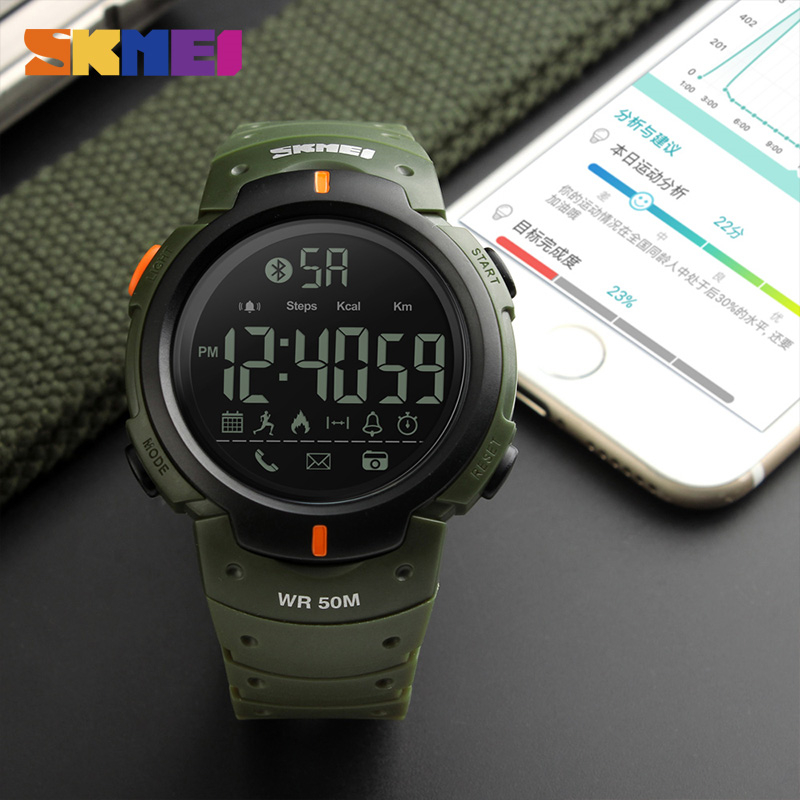 Bluetooth Calorie Pedometer font b Smart b font Watch SKMEI 1301 for Men LED Water Shock