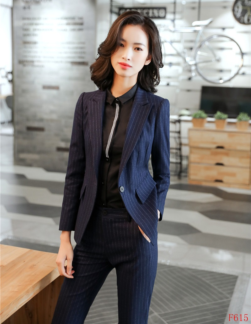 Suits & Sets High Quality Formal Women Pant Suits Navy Blue Striped And Jacket Set Ladies Work Wear Office Uniform Designs Syles An Indispensable Sovereign Remedy For Home