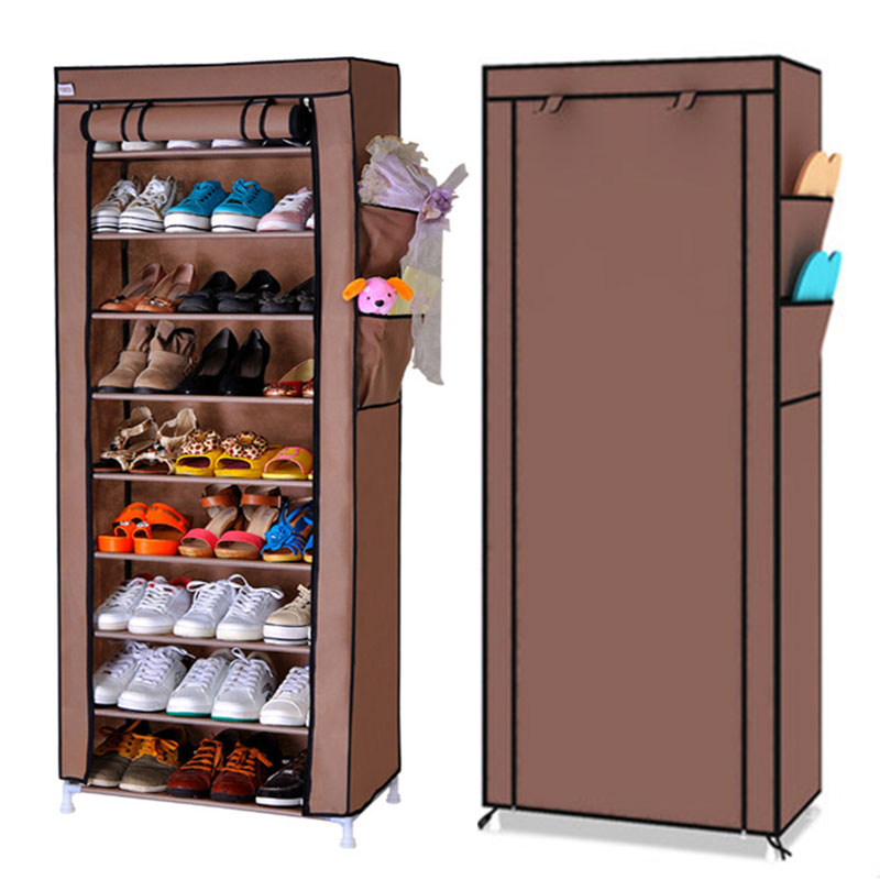 10 Layers 9 Grids Thick Non-woven Cloth Dustproof Shoe Storage Cabinet DIY Assembly Shoes Rack Shoe Organizer Shelves Furniture shoe rack nonwovens steel pipe 4 layers shoe cabinet easy assembled shelf storage organizer stand holder living room furniture