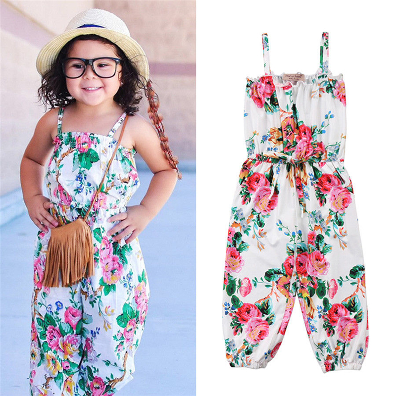 Emmababy Hot Sale arrival New Born Baby Clothes Summer Girls Rompers Sleeveless Covered Button Floral O-Neck Strap