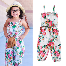 Emmababy Hot Sale arrival New Born Baby Clothes Summer Baby Girls Rompers Sleeveless Covered Button Floral O-Neck Strap Rompers picturesque childhood new born baby boy clothes 3 1 covered buttono neck footies pajamas original cotton hot sale
