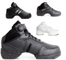 Nouveau 2017 En Cuir À Talons Hauts Wedge Plate-Forme Noir Blanc Chaussures De Danse Jazz Sneakers Femmes Hip Hop Sneakers