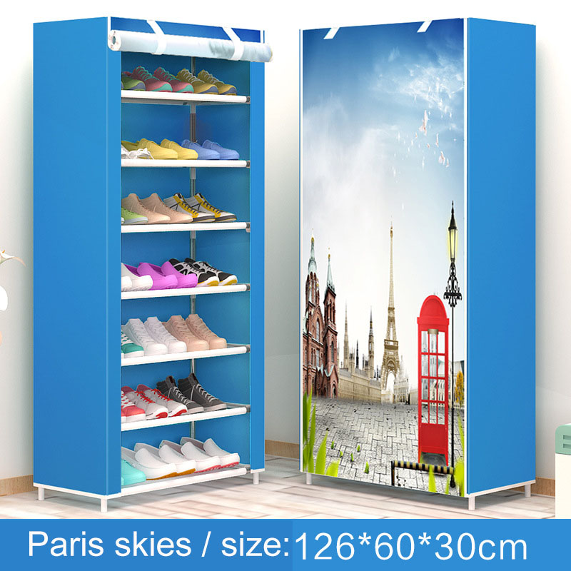 Shoe Rack 8 Layer 7 Grid Non Woven Fabrics Large Shoe Cabinet Organizer  Removable Shoe Storage For Home Furniture
