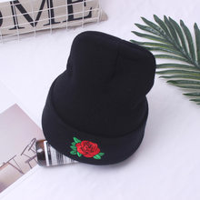 New Winter Hats Women&Men Beanies Rose Knit Wool Warm Knitted Hat Female Fashion Outdoor Knitted Caps(China)