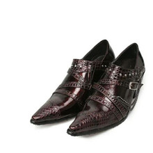 Sapato social hidden high heel shoes for men black spiked loafers oxford genuine leather crocodile buckle strap shoes male cute girl buckle strap deer printing leather shoes irregular little deer heel shoes double cherries high heel shoes deer heel