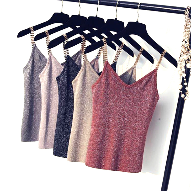 2017 Chain Knitted Tank Tops Womens Fashion Sexy V-neck Camis High Elasticity Casual Tops Female Solid Silver Thread Cotton tops