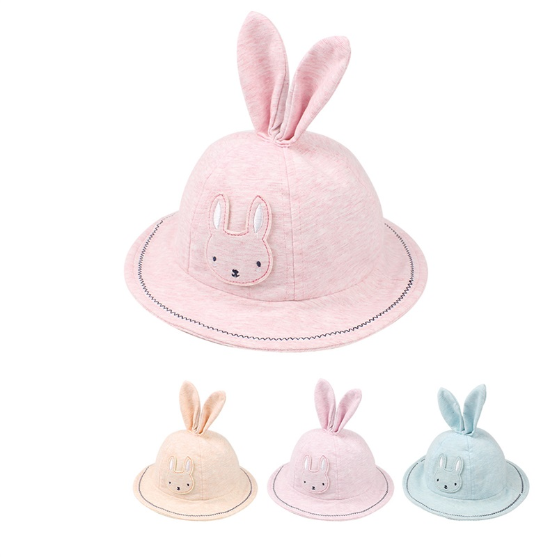 Cute Rabbit Baby Hat For Girls Cotton Panama Girls Hat With Rabbit Ears Cartoon Baby Girls Sun Cap Summer Baby Girls Clothings fashion toddler girls baby american flag pattern cute rabbit ears headband