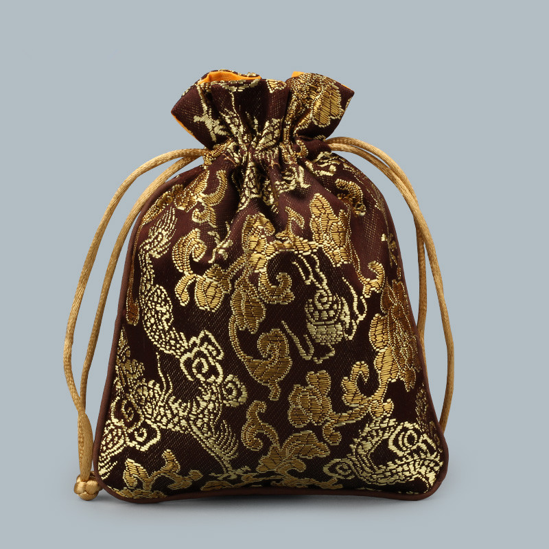 Dragon patterns small drawstring silk satin bags candy tea for Drawstring jewelry bag pattern