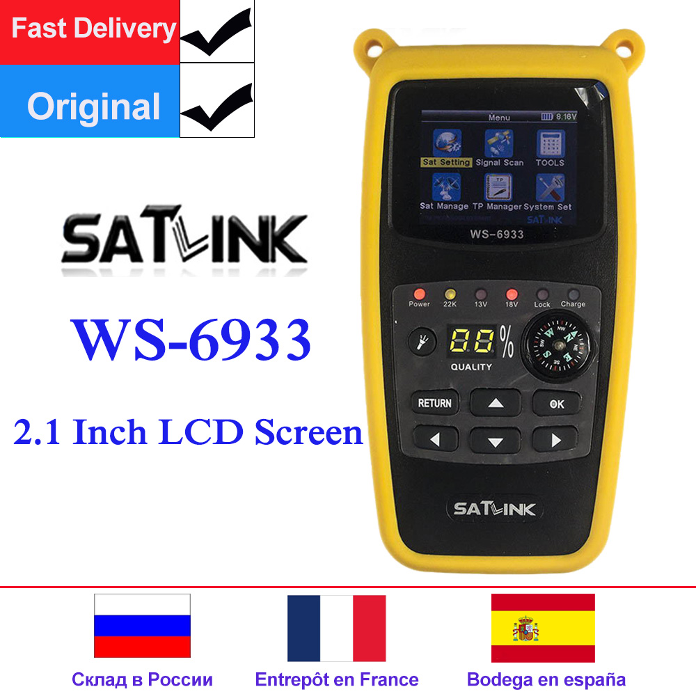 Original Satlink WS-6933 Digital Satfinder DVB-S2 Satellite Finder 2.1 Inch LCD Display FTA C&KU Band WS 6933 WS6933 Sat Meter