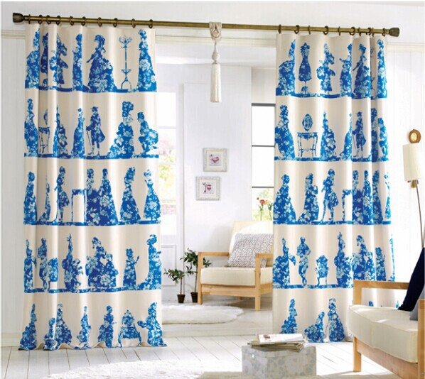 The New South Korean Flower Blue Curtains Flappers