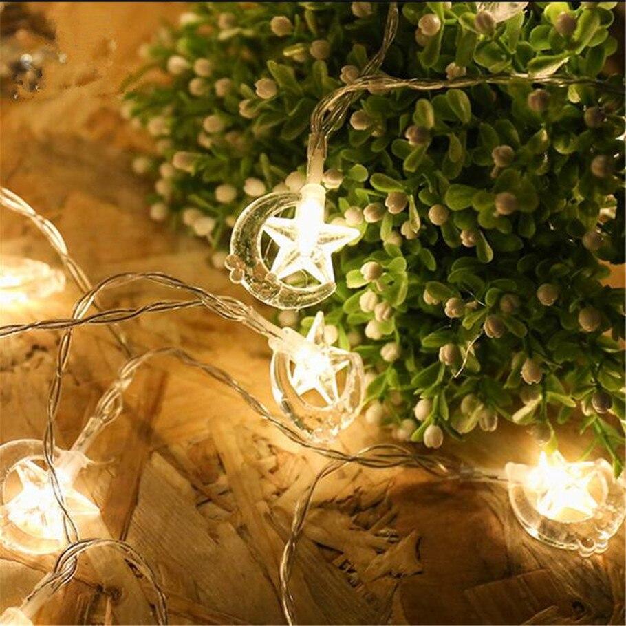 220 В 10 м 50 Гирлянды светодиодные гирляндой луна и звезды Фея светодиодные фонари украшения Свадебные украшения рождественский Бордовый