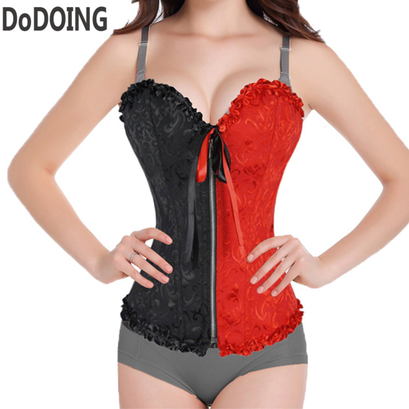 Corsets   Red+black patchwork wiht bow   Bustiers   &   Corsets   korsett for women waist trainer Strapless Cincher Overbust