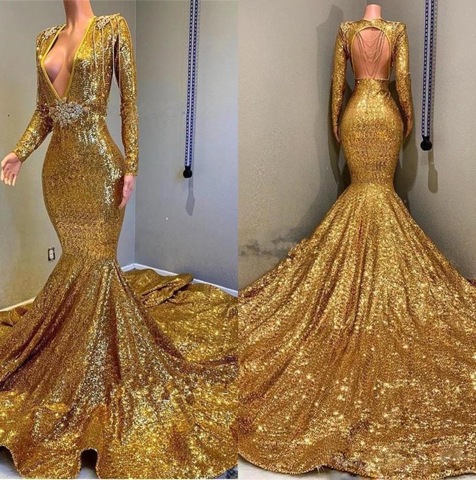 Deep V Neck Gold Mermaid   Evening     Dresses   Long Sleeve Backless Sequined Formal Prom Gowns Sparkly Sequin African Robe de soiree