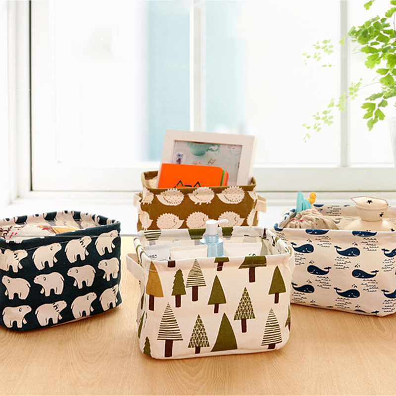 Pastoral Desktop Storage Box Cartoon Cotton Linen Jewelry Cosmetic Holder Box Stationery Sundries makeup organizer Basket OZ