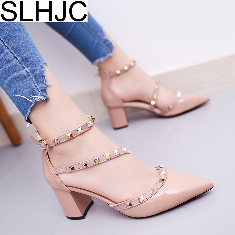 SLHJC Women Summer Autumn Flats Pointed Toe Shallow Mouth Flat Heel Sandals Rivet Shoes Casual Lady Shoes women t strap moccasins flat shoes low heel sandals black gray pink pointed toe ballet flats summer buckle zapatos mujer z193