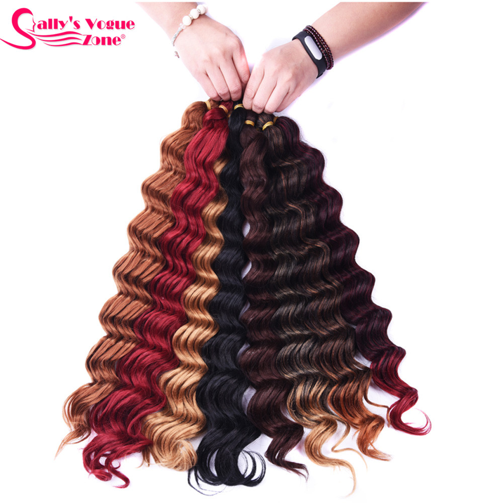 Sallyhair High Temperature Synthetic Deep Wave Twist Crochet Braids Black Color Bulk Hair Extension  (1)