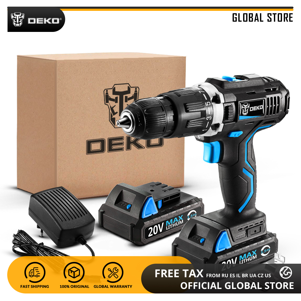 DEKO GCD20DU3 20V MAX Home DIY Power Driver Variable Speed Electric Screwdriver LED Impact Cordless Drill with 2 Lithium Battery