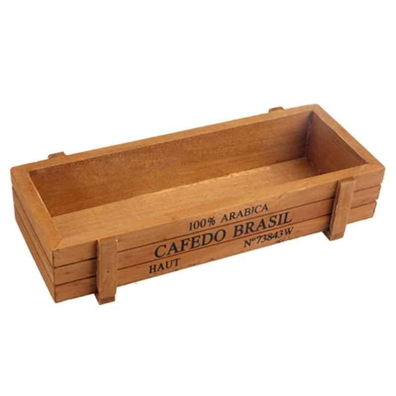Taman Pot Tanaman Kayu Pot Bunga Dekoratif Vintage Lezat Kotak Kayu Peti Persegi Panjang Meja Pot Bunga