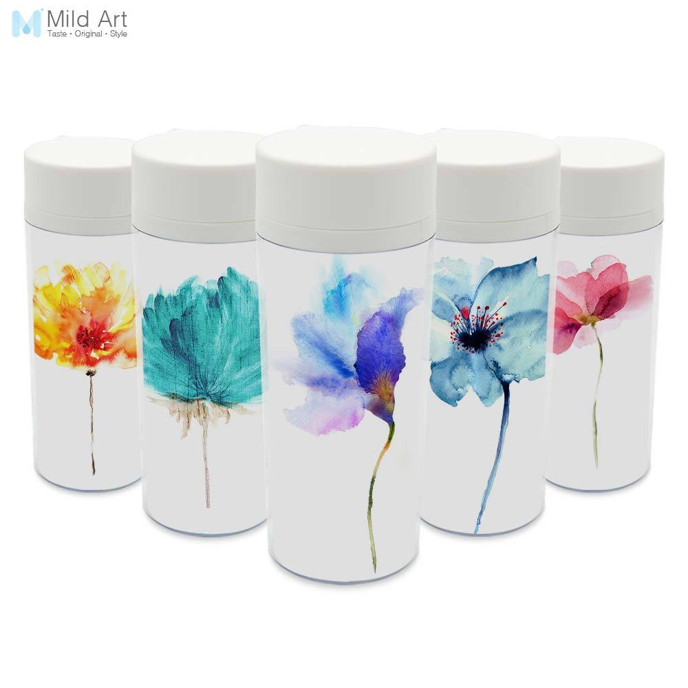 Clear Personalized Wide Mouth Drinkware With Lid BPA Free Plastic Insulated Modern Beautiful Flower Kids Water Bottle 300ml Gift