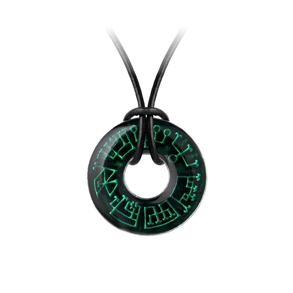 Femmes Punk Long collier ange classique cercle pendentif collier bijoux Vintage vert motif longue chaîne déclaration collier