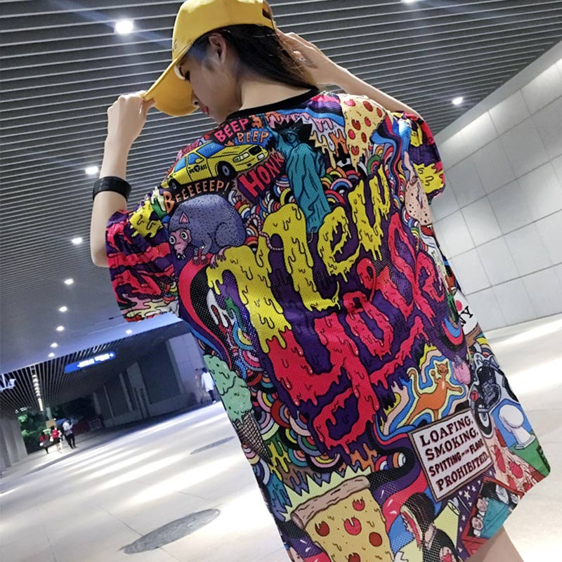 Cartoon Slogan Women Long T Shirts Summer 2019 NEW YORK Printed Letter Loose Hole Mesh Ventilation 80s Hipster Cute Graphic Tees in Dresses from Women 39 s Clothing