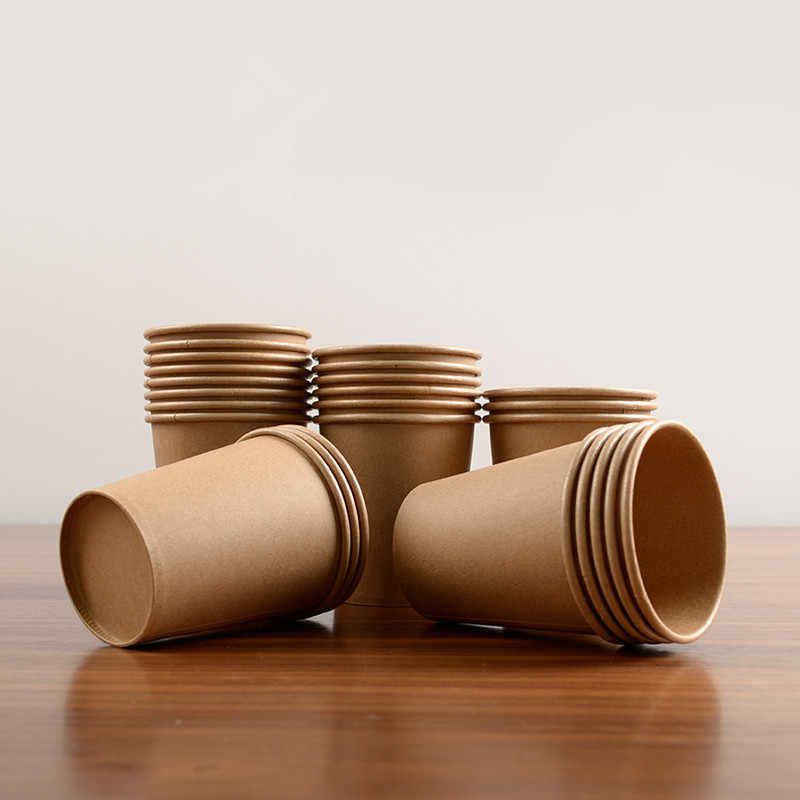100pcs/pack Kraft Paper Cup Disposable Coffee Cup Tea Cup Drinking Accessories With Lid Cover