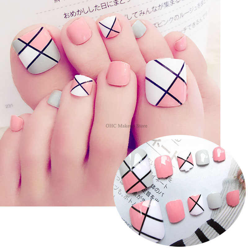 24Pcs/Set Fake Nails Feet Short Square Toenail False Nails Toe Mixed Colorful Patch Design Finished Press On Nail Art With Glue