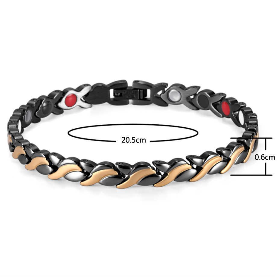 Rainso ステンレス鋼ブレスレット & バングル磁気ブレスレット黒メッキ 4 要素健康ブレスレット女性のための OSB-1551BKG