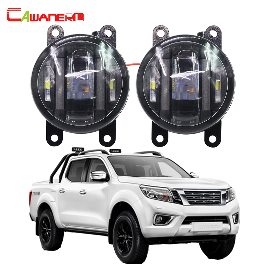 Cawanerl 1 Pair Car Right + Left Fog Light LED Daytime Running Lamp DRL Accessories For Nissan Navara D40 Pickup 2005-2015 cawanerl 2 x car led fog light drl daytime running lamp accessories for nissan note e11 mpv 2006