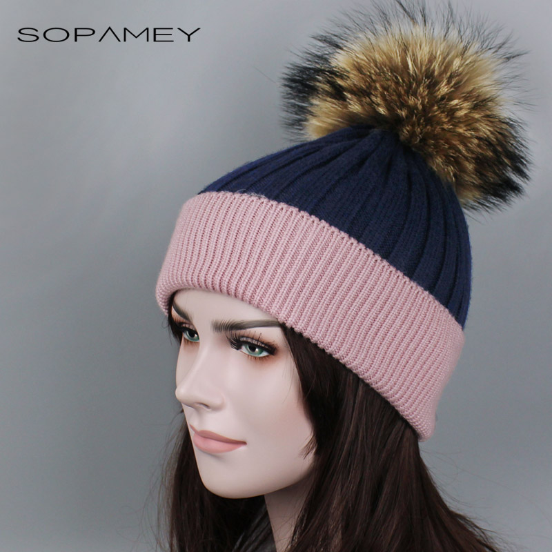Women Winter Hat Knitted Female Beanies Genuine Raccoon Fur Pompom Cap Fashion Thick Warm Skullies Hats for Girl 2017 New gorro skullies beanies the new russian leather thick warm casual fashion female grass hat 93022