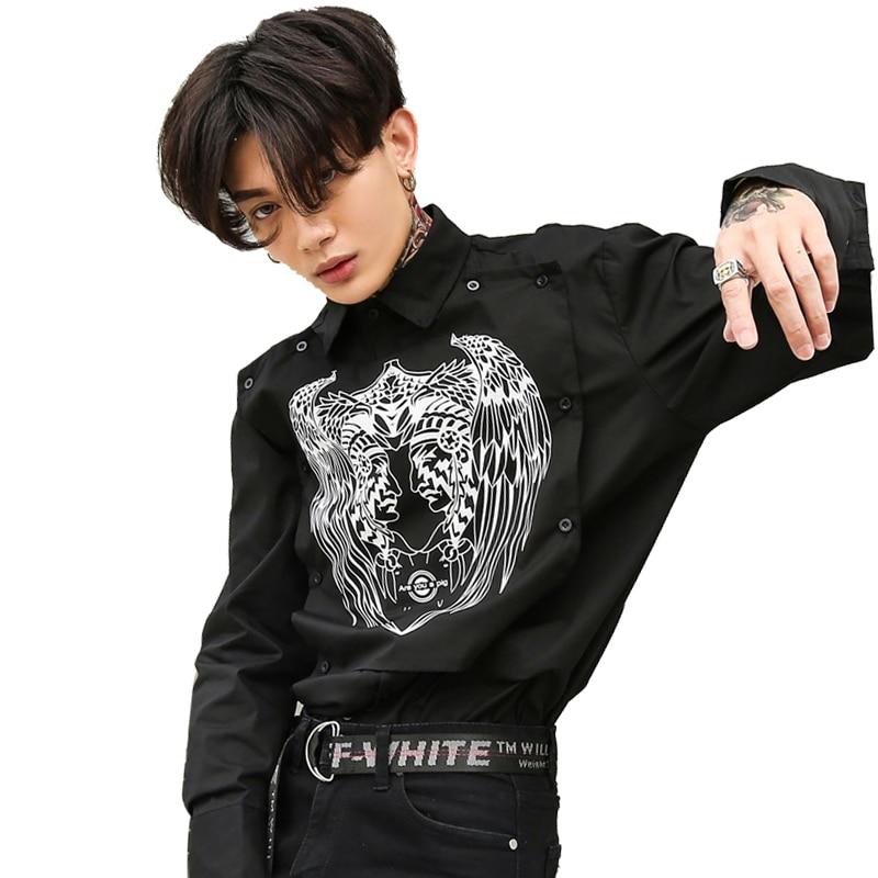 Men Punk Gothic Style Fashion Printing Causal Shirt Male Hip Hop Long Sleeve Dress Shirt ...