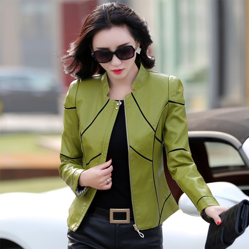 New 2019 Spring   Leather   Jacket Women   Leather   Clothing Female Short Design Slim   Leather   Coat Outerwear Female Coat Plus Size 3XL