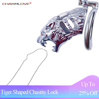 New 40/45/50mm Tiger Shaped Hollow Cool Steel Male Chastity Lock Cage Metal Lockable Penis Lock Men Cock Ring Sex Toys