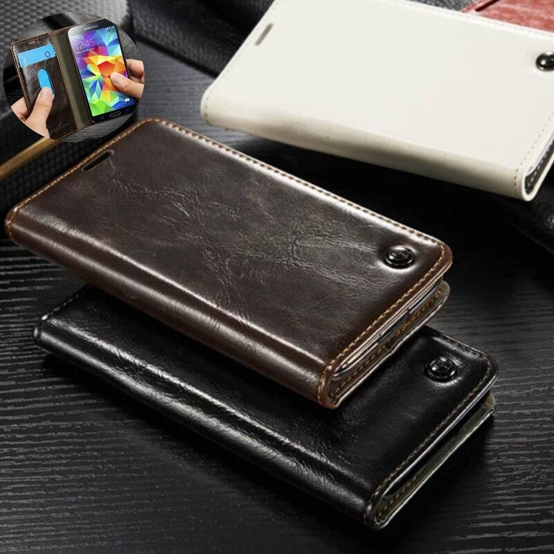 Cas de luxe Pour Samsung Galaxy S5 Mini Rétro Vrai Flip En Cuir couverture Pour Samsung S5 Mini G800 Silicone Retour Housse Capa