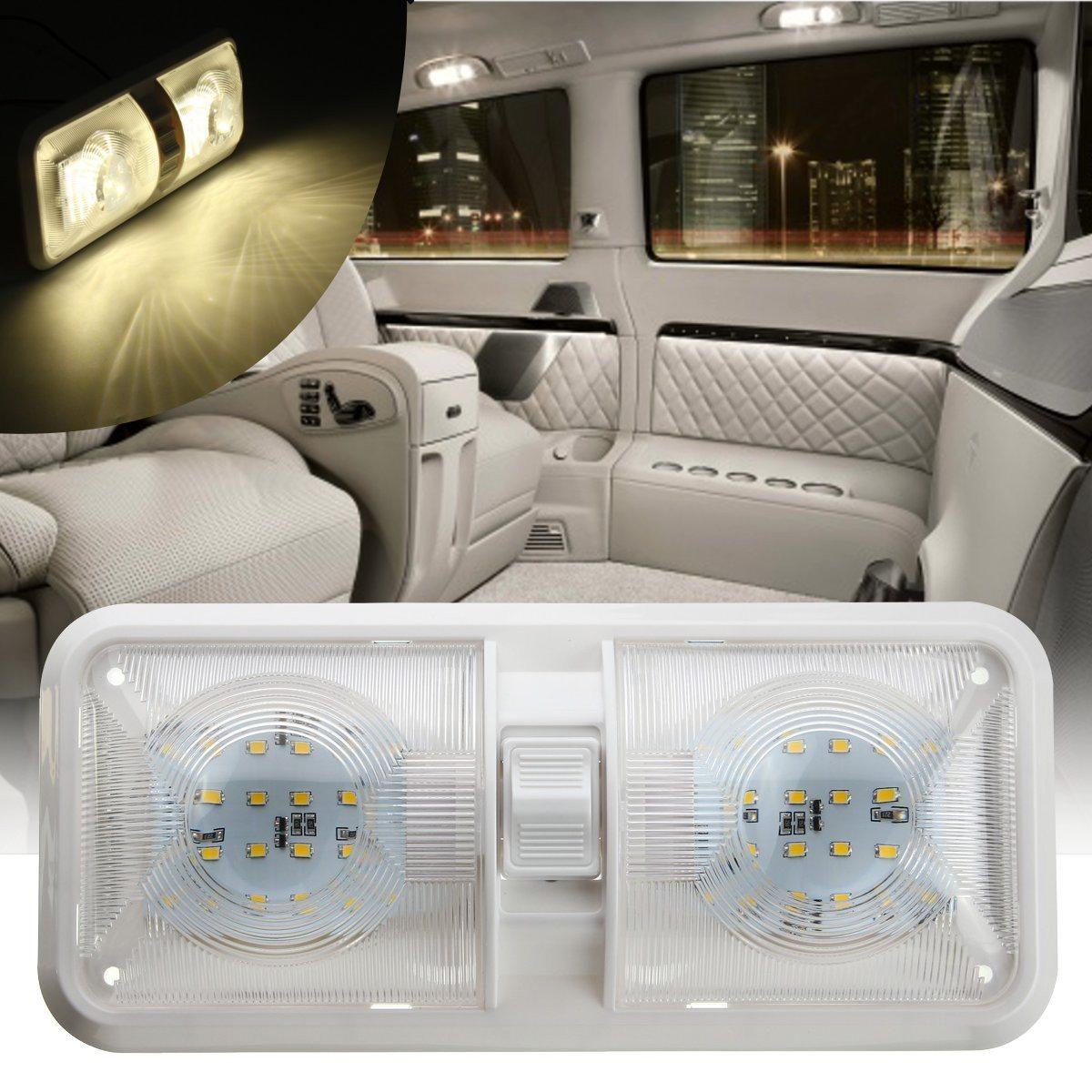 Doppel Dome Licht 12 v 48 LED Innen Dach Decke Lesen Für RV Boot Für Camper Anhänger Kunststoff 1 stück weiß