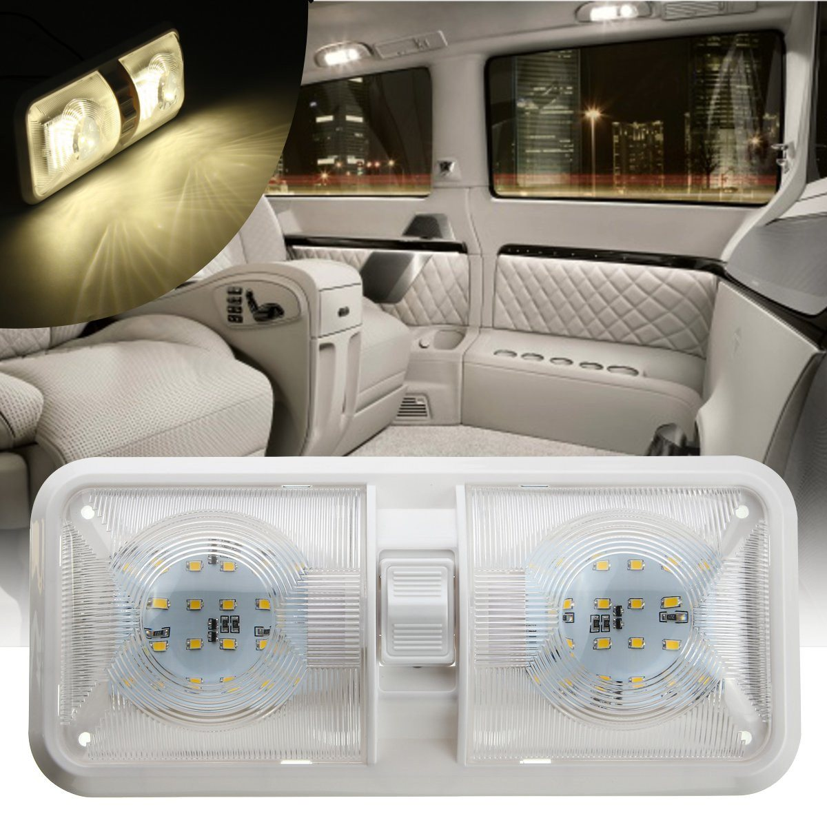 Double Dome Light 12V 48 LED Interior Roof Ceiling Reading For RV Boat For Camper Trailer Plastic 1PC White