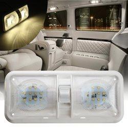 Luz Domo doble 12V 48 LED techo Interior lectura para bote RV para remolque de Camper de plástico 1PC blanco