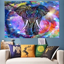 Boho Decor Elephant Tapestry Large Wall Hanging 3D Animal Psychedelic Tapestries Yoga Rug Big Size Art Poster Pictures