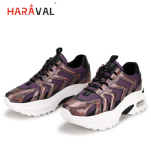 HARAVAL Fashion colorful women sneakers spring and summer cross straps running shoes round head mesh breathable N79