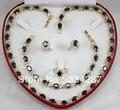 Nuevo Listado! envío Libre Negro Cristal de la CZ Del Pendiente de La Pulsera Collar de La Joyería