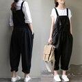 Primavera Outono Moda de Nova Mulheres Jardineira 2017 Designer calças Casua Solto Calças de Algodão Preto Longo Plus Size 3XL B163