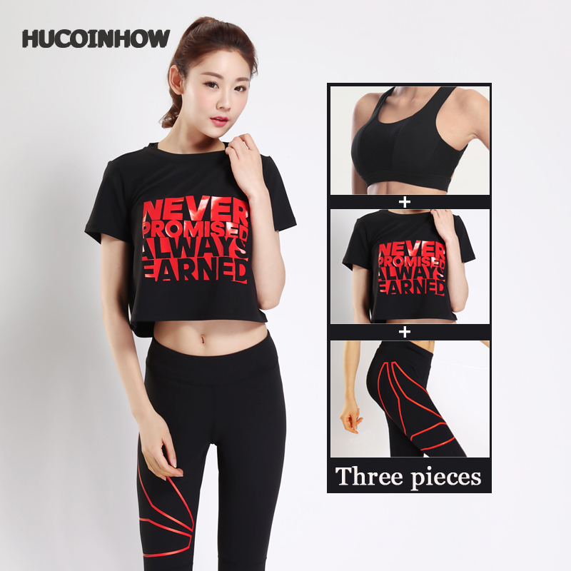 HUCOINHOW Women Yoga Fitness Sports Sets Gym Workout Sportswear 3pcs/Set Tracksuits Shirts+Bra+Letter Yoga Pants Sport Leggings купить