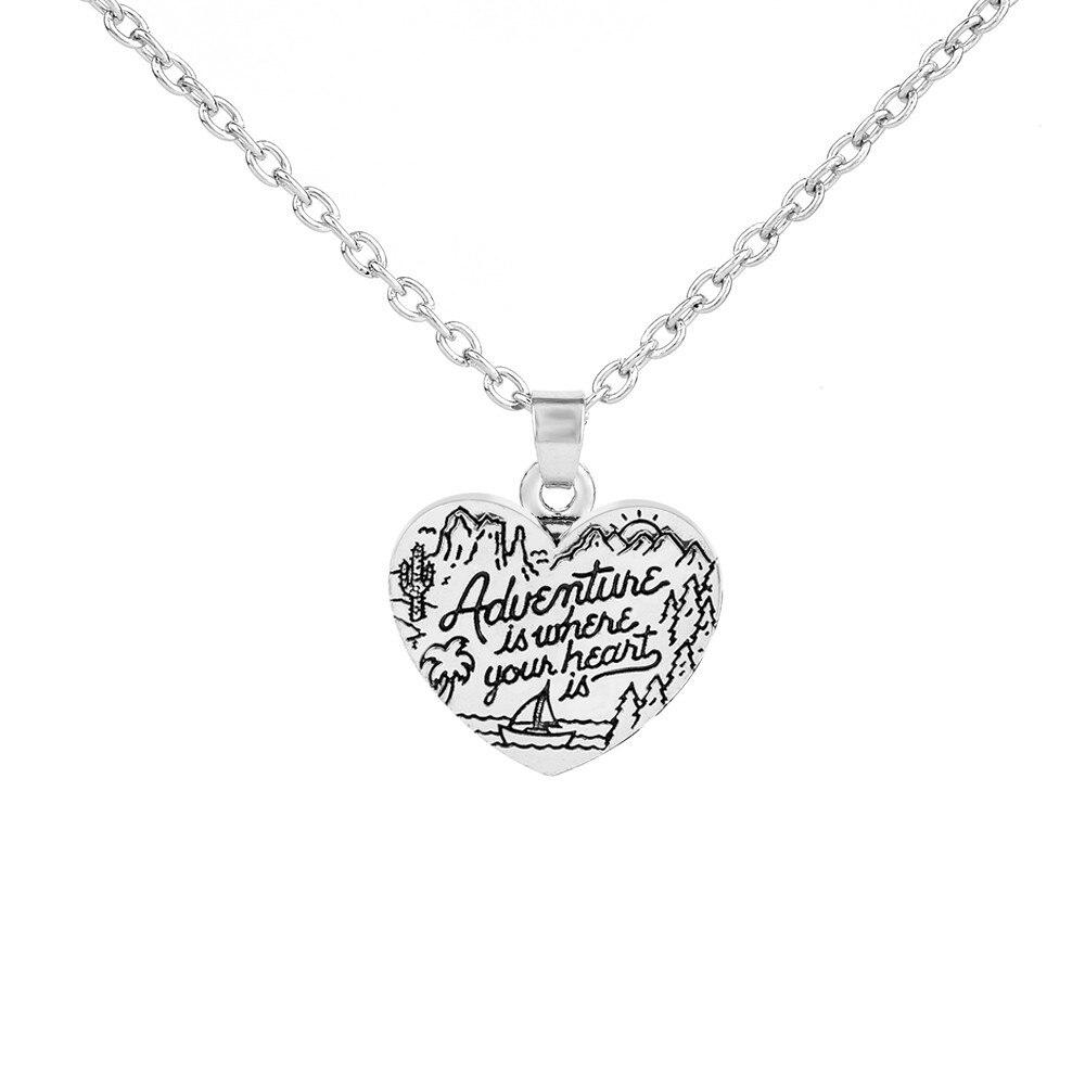 Мой Форма подвеска сердце Форма d Подвески Колье Приключения где твое сердце заявление Цепочки и ожерелья любовник подарки для девочек день...