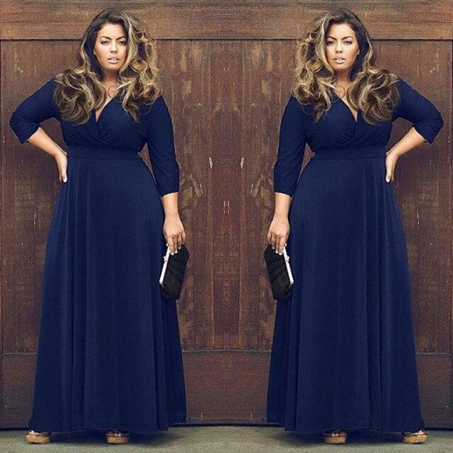 fa5b5151e € 21.01  Europa y los Estados Unidos moda color puro atractivo partido del  MM vestido grande (7 colores opcionales) en Vestidos de La ropa de las ...