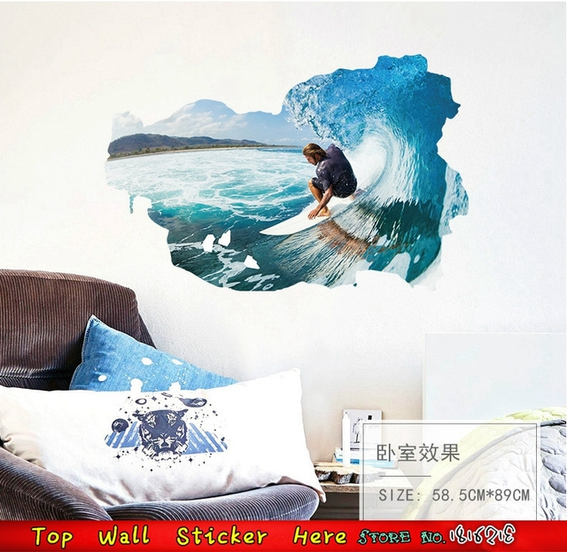 Cool Men Surfing Sea Wall Stickers Blue Ocean Water Wave Wall Decals 3d Window Style House & Cool Men Surfing Sea Wall Stickers Blue Ocean Water Wave Wall Decals ...