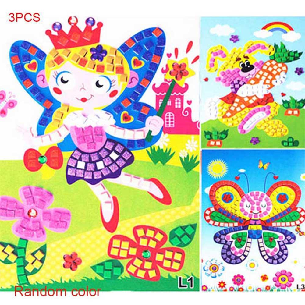 3Pcs/Set 3D Children Puzzle DIY Foam Kids Mosaic Stickers Art EVA Cartoon Crystal Educational Toys 88 88 YJS Dropship