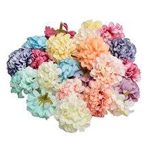 10 pçs/lote 4.5cm artesanal de seda artificial hortênsia flor cabeças para casamento decoração casa grinalda artesanato presente caixa scrapbook diy