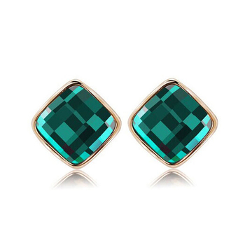 Women's Drop Crystal Earrings Earrings Jewelry Women Jewelry Metal Color: E004 Green