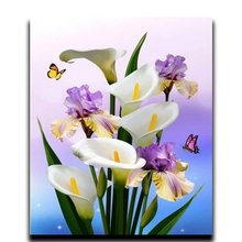 Diamond paint diamond diy embroidery exotic flowers and  flower square mosaic full icons White